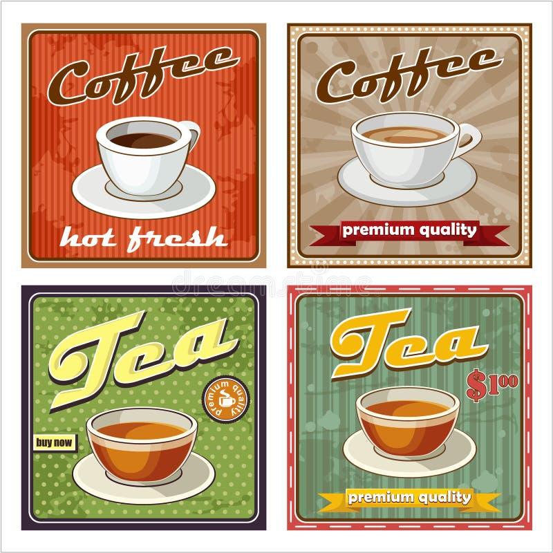 Tappningkaffe och teaffisch royaltyfri illustrationer