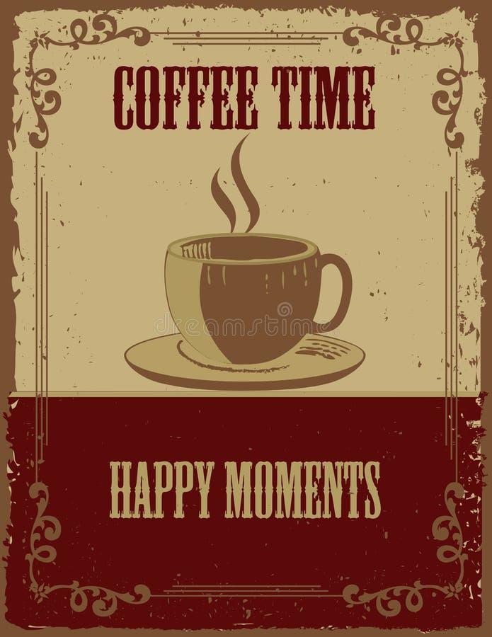Tappningkaffeaffisch stock illustrationer