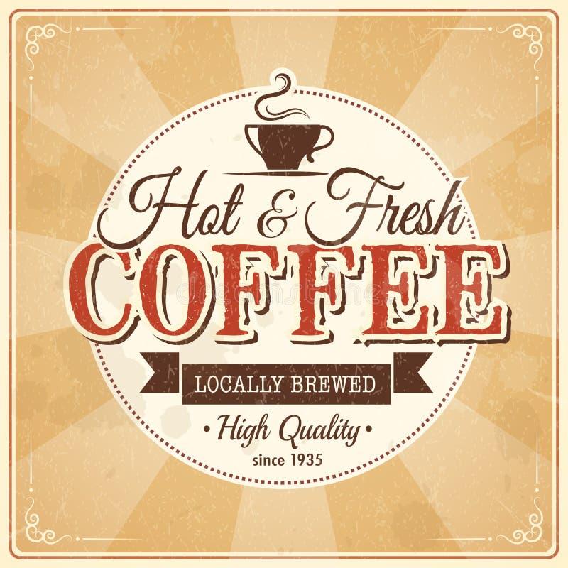 Tappningkaffeaffisch med grungeeffekter royaltyfri illustrationer