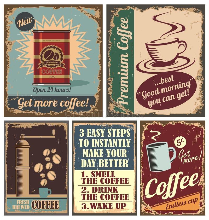 Tappningkaffeaffischer och belägger med metall tecken royaltyfri illustrationer