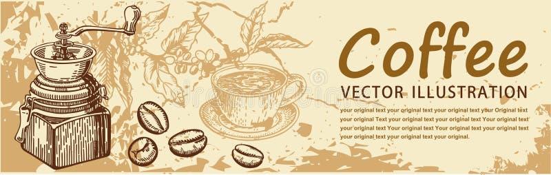 Tappningkaffebakgrunder restaurang f?r meny f?r st?ngcafekaf? stock illustrationer