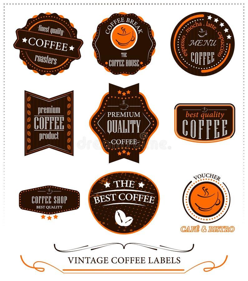 Tappningkaffeetiketter royaltyfri illustrationer