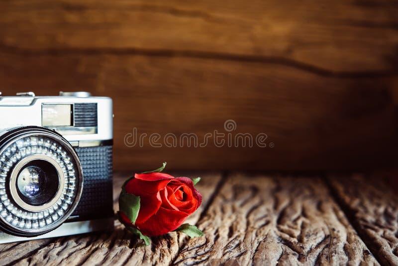 Tappningkamera med rosor på gammal wood bakgrund fotografering för bildbyråer