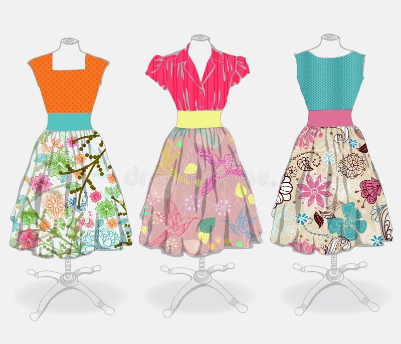 Tappningklänningbakgrund stock illustrationer