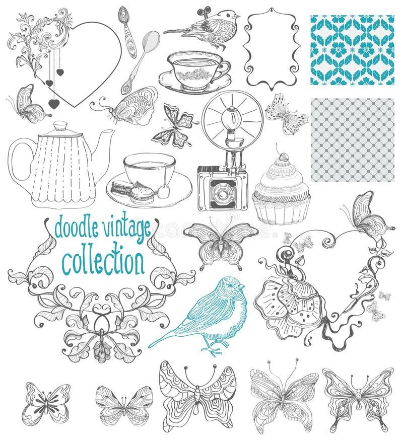Tappningklotterbeståndsdelar - modell, blomma, fjäril och annat f vektor illustrationer