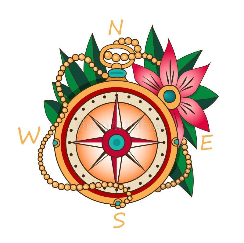 Tappningkompass med blommor och sidor Semester och turismsymbol Dekorativa beståndsdelar för färgvektor vektor illustrationer