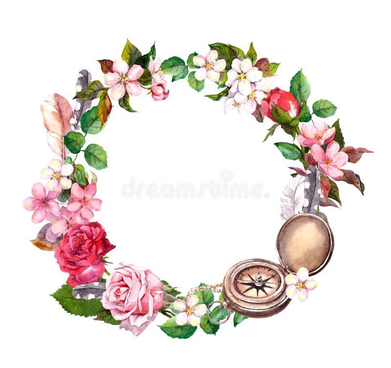 Tappningkompasset, blommor, befjädrar Loppbegreppskrans Vattenfärgcirkelram royaltyfri illustrationer
