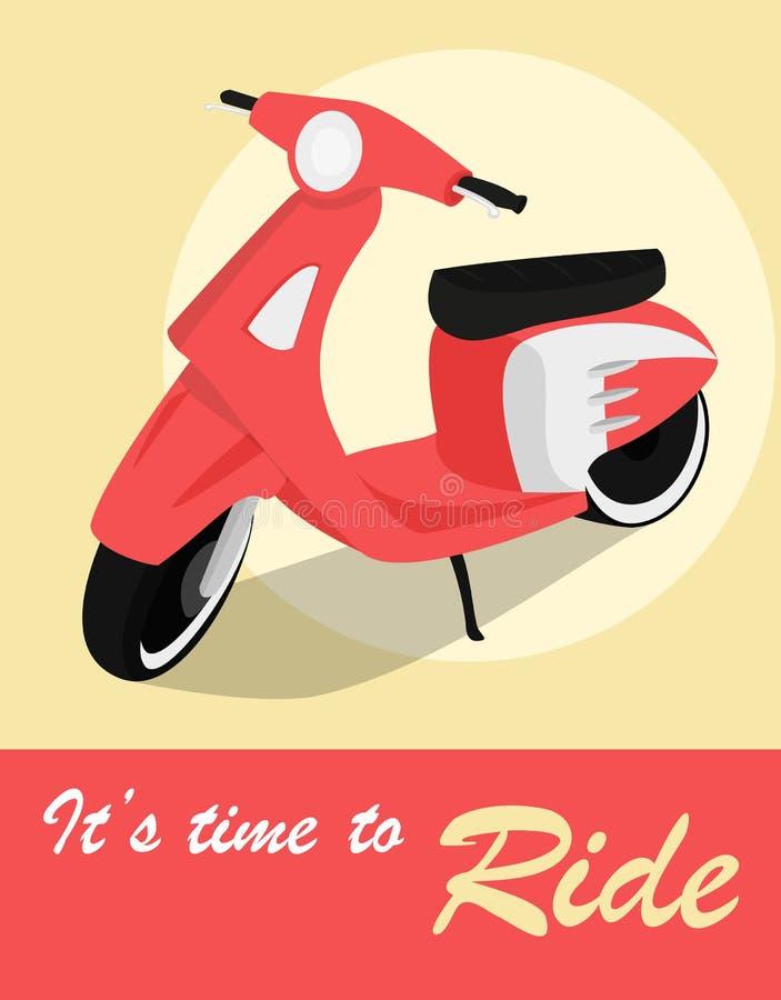 Tappningkort av sparkcykeln i retro stil royaltyfri illustrationer