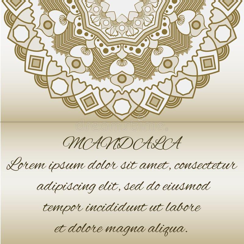 Tappningkort med den blom- mandalaen mönstrar och prydnader royaltyfri illustrationer