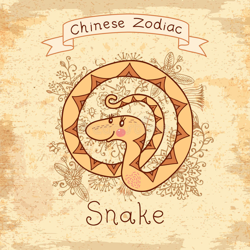 Tappningkort med kinesisk zodiak - orm vektor illustrationer