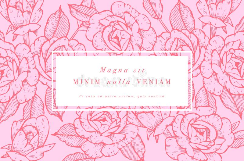Tappningkort med Rose Flowers Blom- krans Blommaram för flowershop med etikettdesigner Blom- sommar steg royaltyfri illustrationer
