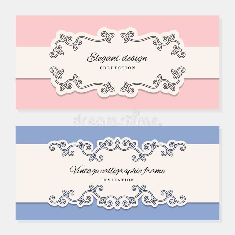 Tappningkortmallar För att gifta sig inbjudningar, eleganta hälsningkort, skönhetsproduktpacke royaltyfri illustrationer