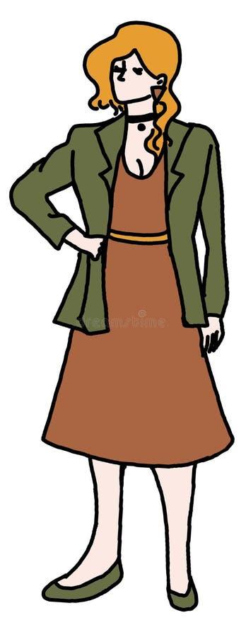 Tappningkvinnaanseende stock illustrationer