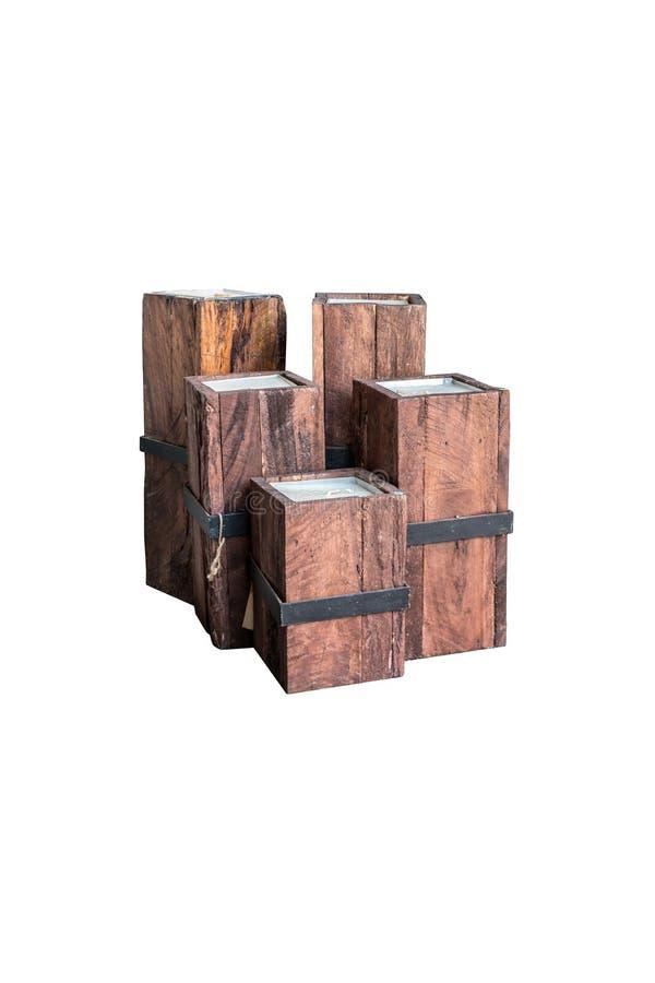Tappningljusstakar som göras från trä för isolerad garnering royaltyfri bild