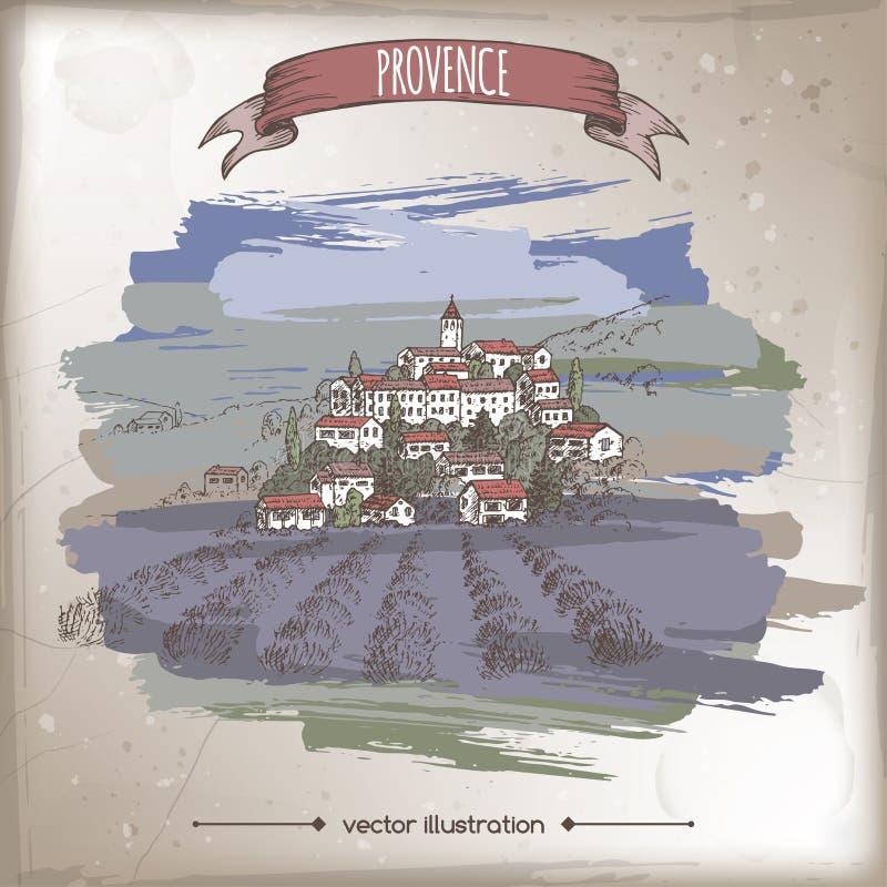 Tappningloppillustration med den Provence staden, lavendelf?lt, kullelandskap Handen drog vektorn skissar royaltyfri illustrationer