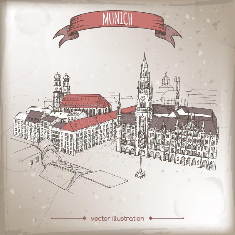 Tappningloppillustrationen med Munich, Tyskland, den gamla staden skissar stock illustrationer