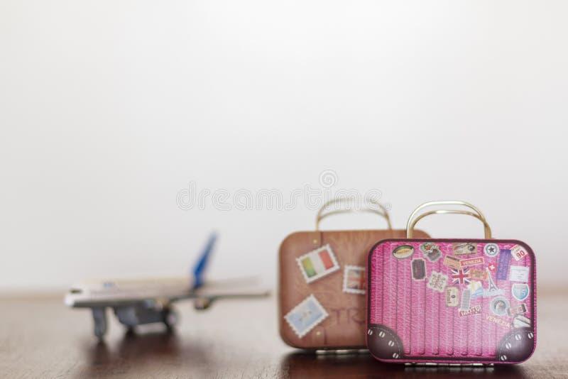 Tappningloppresväskor och flygplan Jord och pass p? en vit bakgrund royaltyfri fotografi