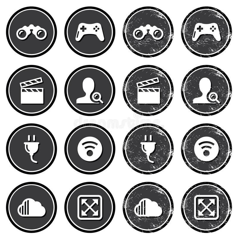 Rengöringsduknavigeringsymboler på fastställda retro etiketter vektor illustrationer