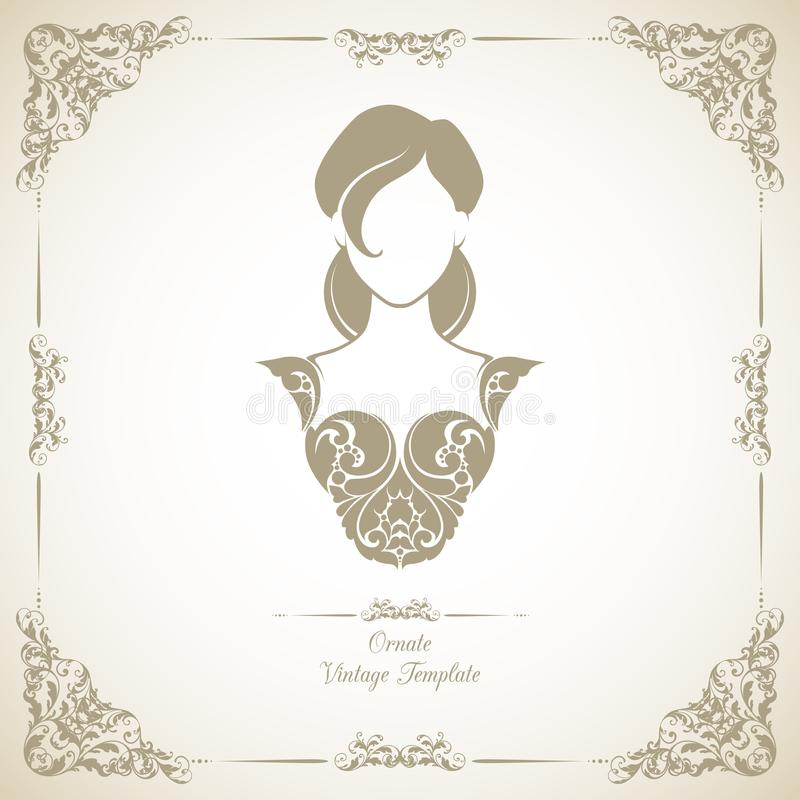 Tappningmall med den dekorativa dekorativa ram- och symbolsflickan i elegant klänning stock illustrationer
