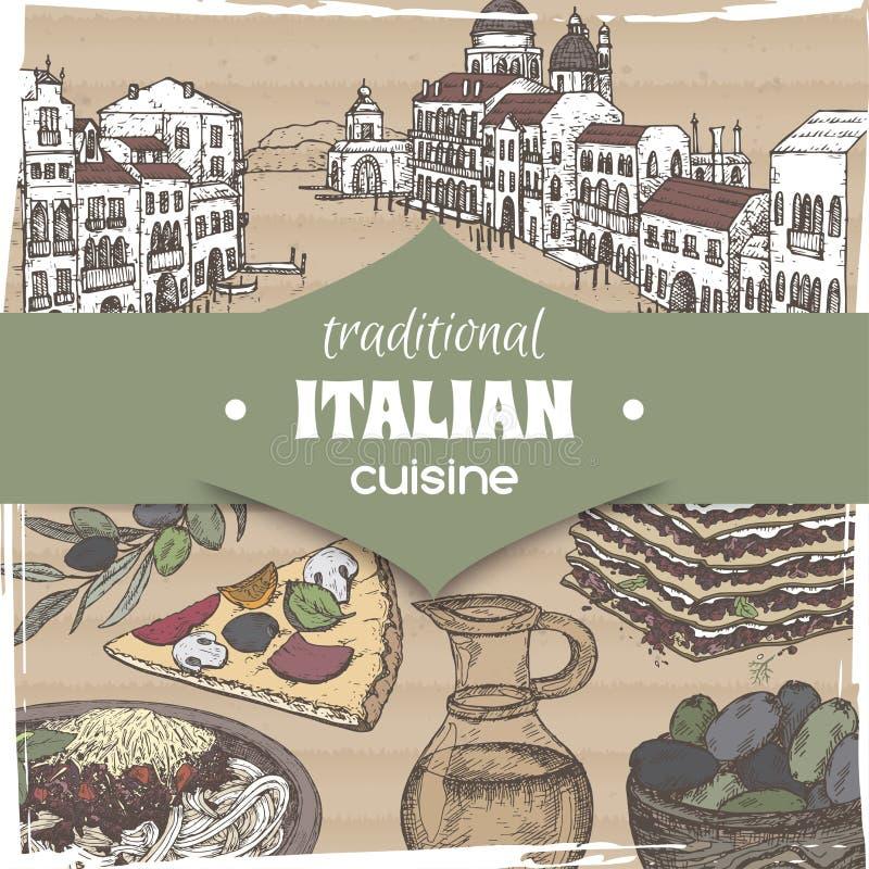 Tappningmall med det Venedig landskapet och italiensk kokkonstdisk för färg stock illustrationer