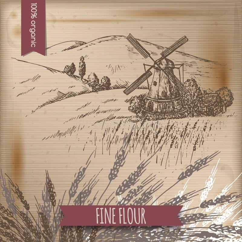 Tappningmall med väderkvarn-, ladugård-, fält- och kullelandskap vektor illustrationer