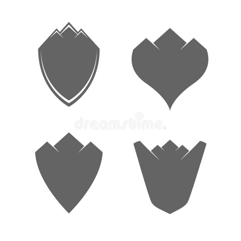 Tappningmellanrumssköldar med berg Uppsättning för vektordesignbeståndsdelar för dig design royaltyfri illustrationer