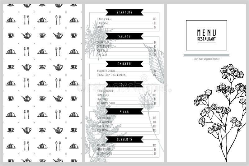 Tappningmenydesign med astilben, craspedia, blå eryngo, lagurus, bomull, gypsophila royaltyfri illustrationer