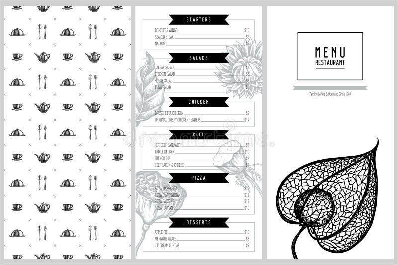 Tappningmenydesign med svart kummin, fjädergräs, helichrysum, lotusblomma, lunaria, physalis stock illustrationer