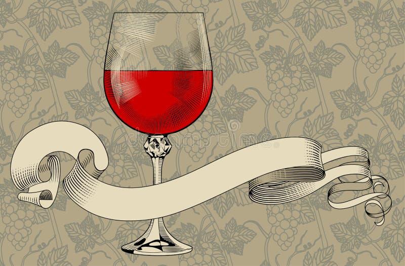 Tappningmenymall med ett vinexponeringsglas, ett band och en druvabackg stock illustrationer