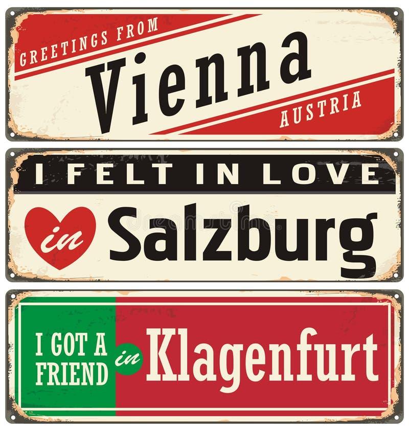 Tappningmetall undertecknar samlingen med Österrike städer vektor illustrationer
