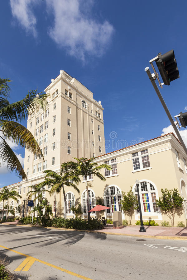 TappningMiami Beach stadshus i art décostil royaltyfria foton