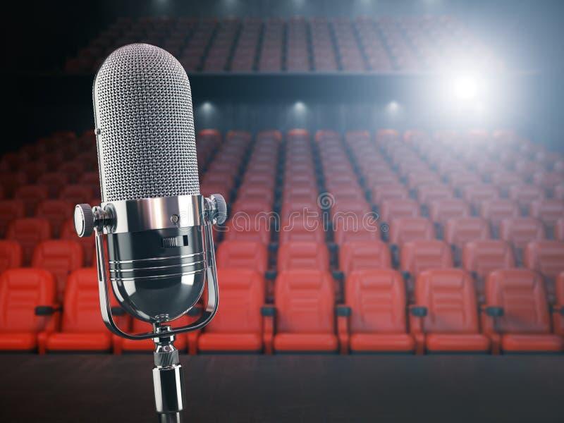 Tappningmikrofon på etappen av konserthallen eller teatern med royaltyfri illustrationer