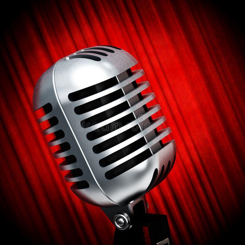 Tappningmikrofon på röda gardiner illustration 3d royaltyfri illustrationer