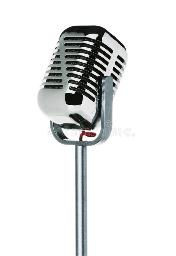 Tappningmikrofon som isoleras på vit bakgrund royaltyfri bild