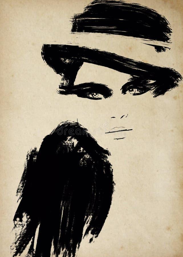 Tappningmodeillustration i svartvitt tryck vektor illustrationer