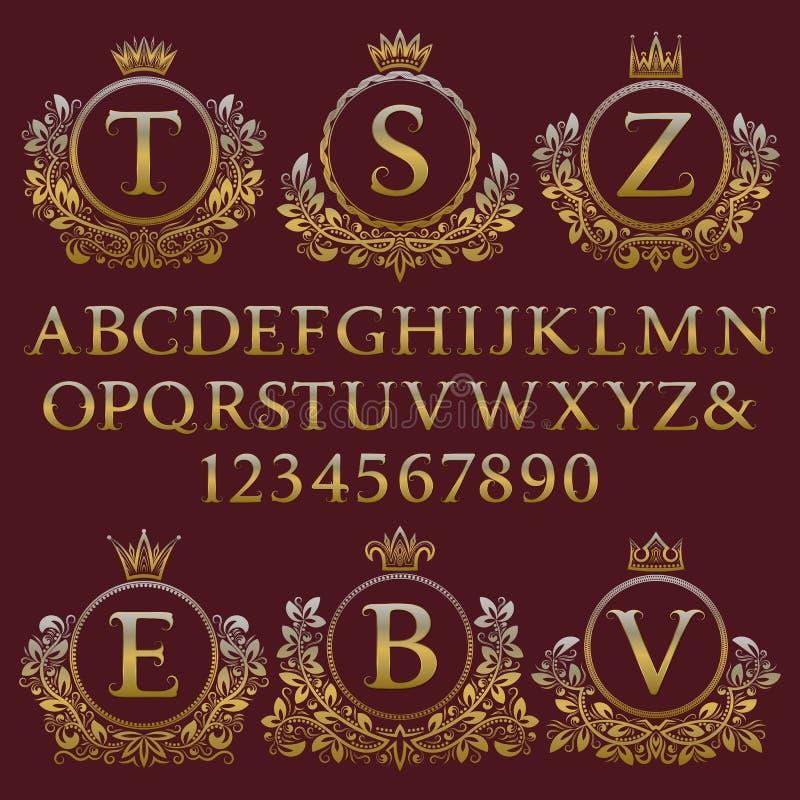 Tappningmonogramsats Guld- bokstäver, nummer och blom- vapensköldramar för att skapa initial logo i antik stil vektor illustrationer