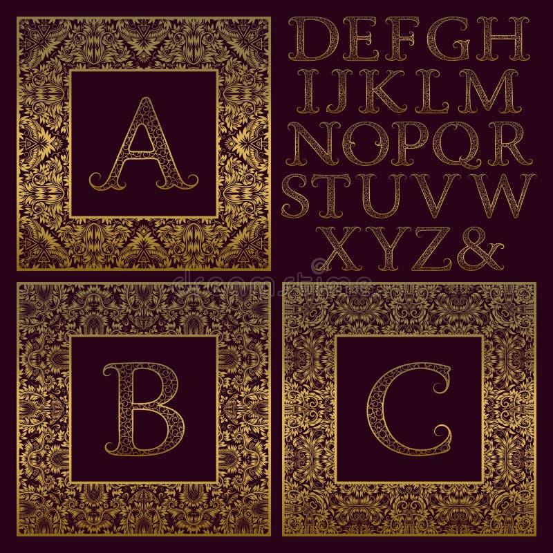 Tappningmonogramsats Guld- mönstrade bokstäver och utsmyckade fyrkantiga ramar för att skapa initial logo i antik stil royaltyfri illustrationer