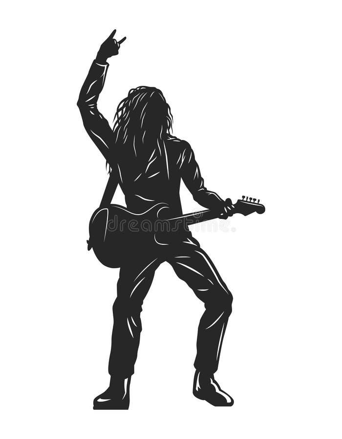 Tappningmonokrom vaggar musikerkonturn royaltyfri illustrationer