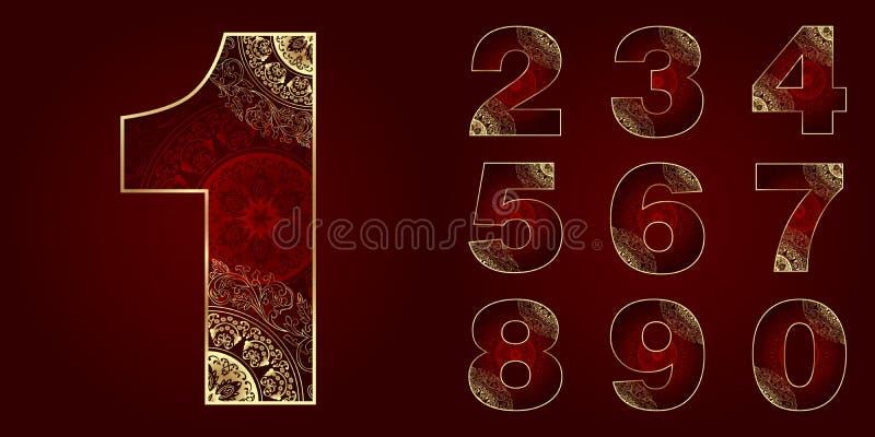 Tappningnummeruppsättning med blom- virvlar stock illustrationer