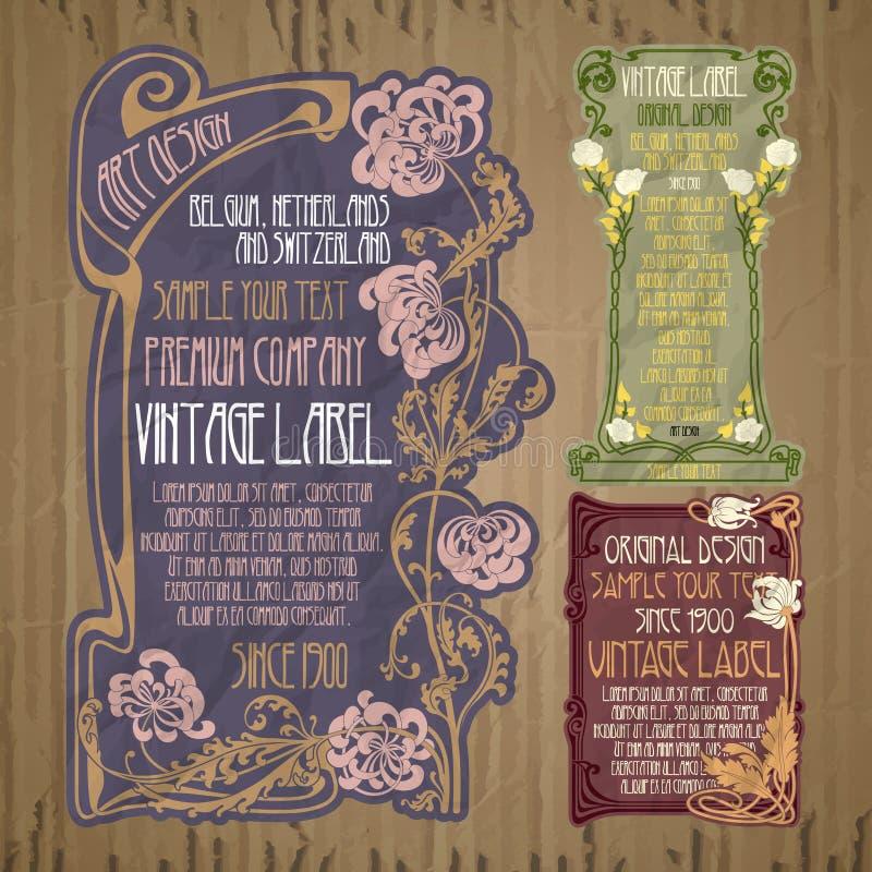 Tappningobjekt: etikett Art Nouveau royaltyfri illustrationer