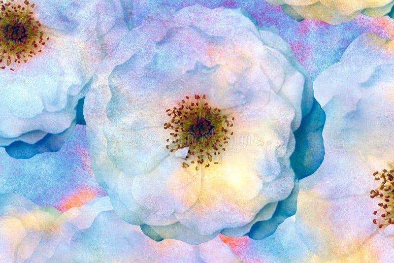 Tappningpastellstylization Vattenfärgrosor Impressionistmålning för kudden, filt eller kudde, pläd och bordduk, torkduk, royaltyfri illustrationer