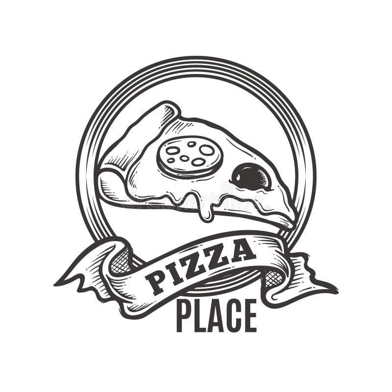 Tappningpizzaställe Logo Premium Vector royaltyfri foto