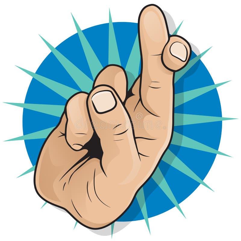 Tappningpop Art Fingers Crossed Sign vektor illustrationer