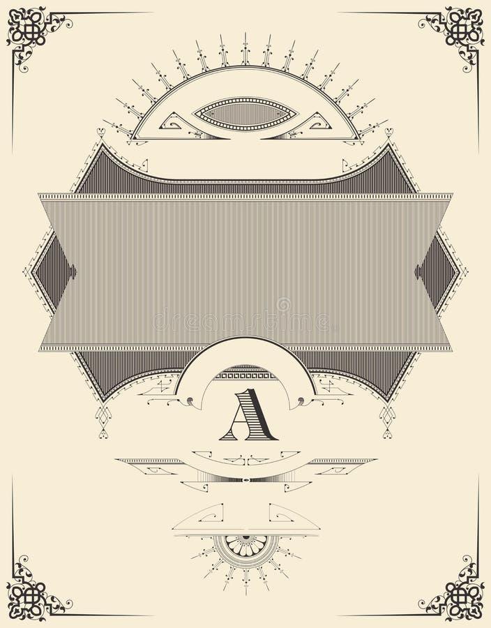 Tappningprydnad 3d härligt dimensionellt diagram tappning för ramillustration tre mycket retro stil för samlingsetikett Uppsättni stock illustrationer