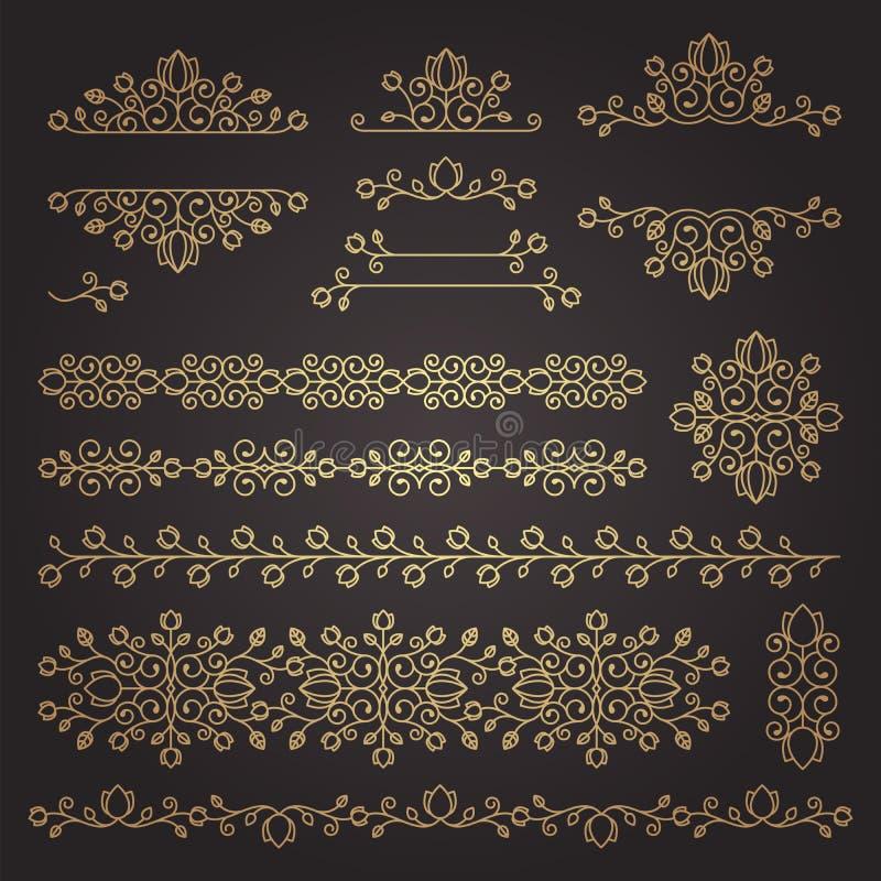 Tappningprydnader och avdelare vektor för designelementset Utsmyckade flor royaltyfri illustrationer