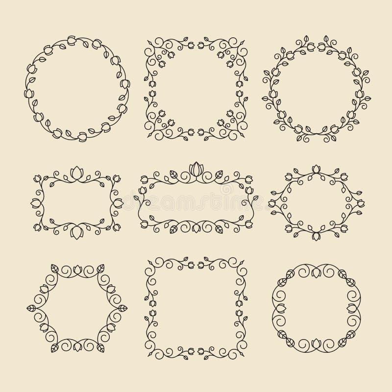 Tappningprydnader och avdelare vektor för designelementset Utsmyckade flor vektor illustrationer