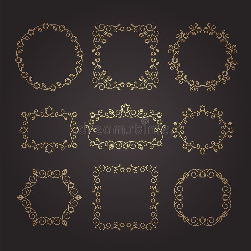 Tappningprydnader och avdelare vektor för designelementset Utsmyckade flor stock illustrationer