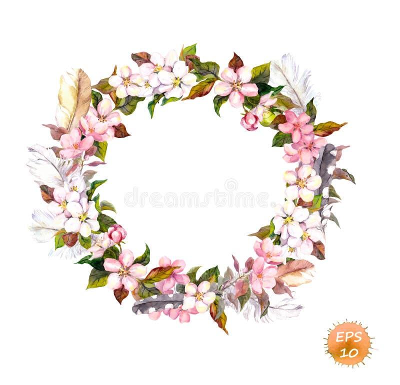 Tappningram - krans i bohostil Fjädrar och blommor körsbär, äppleblommablomning royaltyfri illustrationer