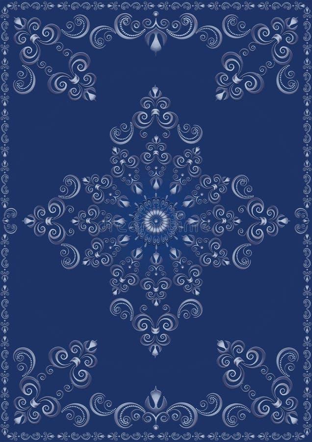 Tappningram med den blåa lyxiga prydnaden vektor illustrationer