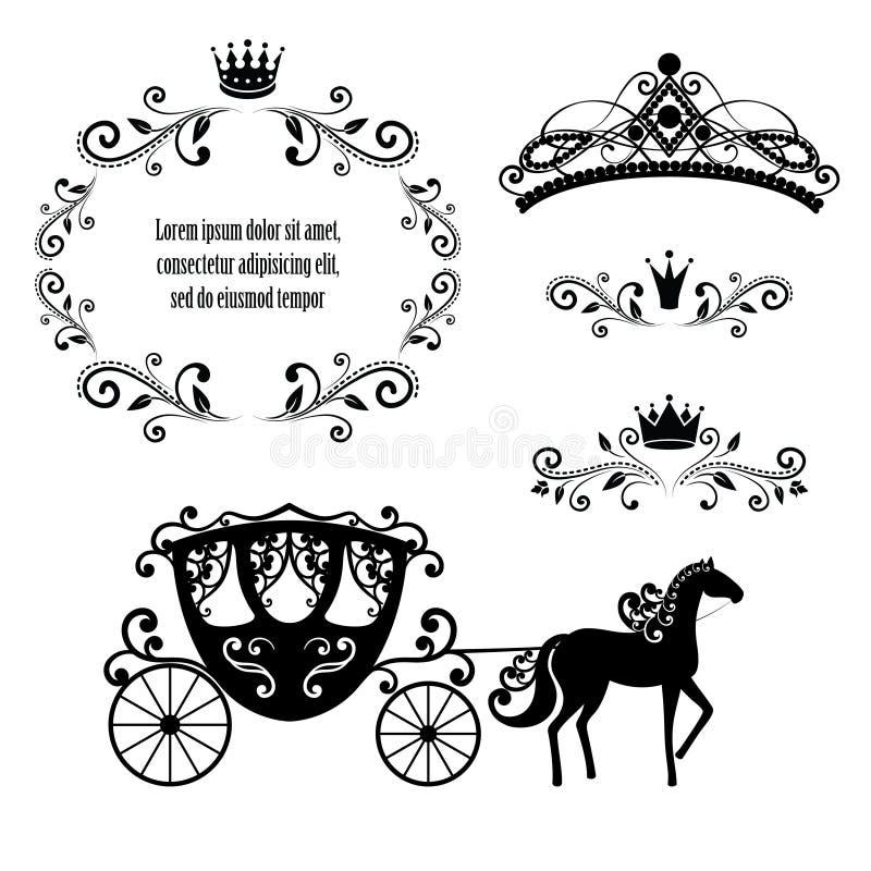 Tappningram med kronan, den dekorativa stildiademen och vagnen royaltyfri illustrationer